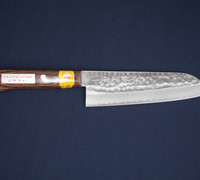 Santoku / All-purpose Kitchen Knife - Hammer Marked VG-1 Steel with Mahogany Handle 13201M