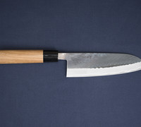 Suzuki-ya Santoku by Tadafusa / All Purpose Kitchen Knife - Kurouchi Finish Blue Steel  #22201M