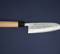 Suzuki-ya Santoku by Tadafusa / All Purpose Kitchen Knife - Nashiji Finish Blue Steel #2 with Japanese Style Katsura Handle #28201M