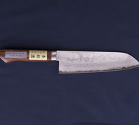Santoku / All-purpose Kitchen Knife - Pounded Damascus VG-1 Steel with Mahogany Handle 14401M